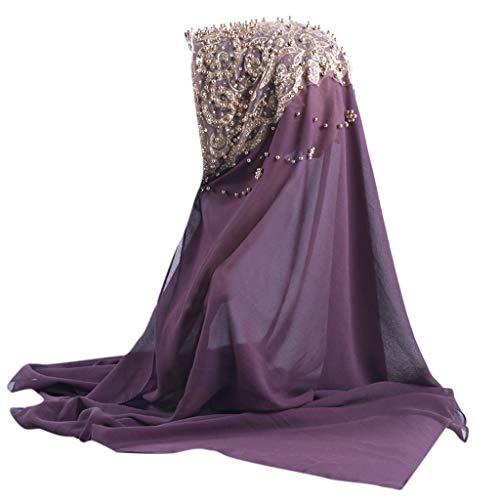 ILXHD Women Islamic Prayer Turban Shimmer Sparkle Gold Glitters Plain Chiffon Muslim Hijab Scarf Shawl Head Wrap
