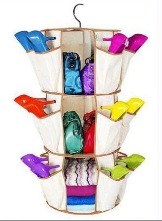 Urban Living Revolving Smart Shoe Carousel Organizer To Store Your Shoes ,  Sandals Bags U0026 More