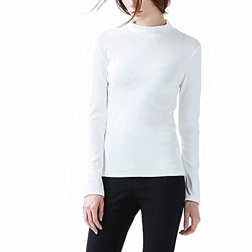 Turtleneck Shirt (COTTON PICKING GIRLS Women's Long Sleeve t-shirt Sexy Soft Cotton Top (L, White/Half-Turtleneck))