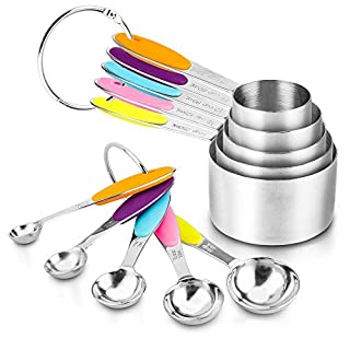 Measuring Spoons and Cups Set of 10, ENLOY Stainless Steel Measuring Cups & Measuring Spoons with Soft Silicone Handles and Clearly Scale, Nesting Liquid Measuring Cup Set or Dry Measuring Cups Set