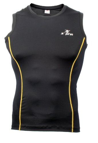 XPRIN XP500 Series Sleeveless Base Layer compression Shirts Sports wear Rash Guard uv 97.5% (XL, XP506)