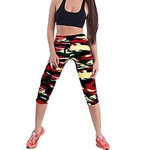 Sannysis Impreso Stretch Leggings Yoga Pantalones Pirata para Mujer Deporte