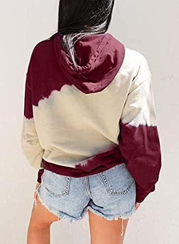 Women Hoodies Tops Tie Dye Printed Long Sleeve Drawstring Pullover Sweatshirts with Pocket