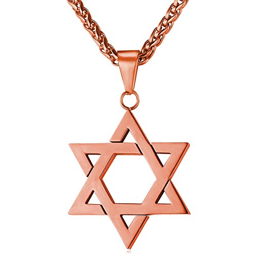 U7 Six-Pointed Star Jewish Jewelry Unisex Rose Gold Plated Chain Star of David Pendant Necklace