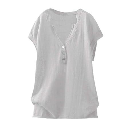 Wave166 Moda para Mujer Camiseta Casual Cuello en V Talla ...