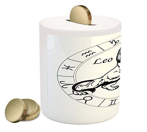 Zodiac Leo Coin Box Bank by Lunarable, Monochrome Angry Lion Illustration Sketch Style Astrological Zodiac Design, Printed Ceramic Coin Bank Money Box for Cash Saving, Black and White
