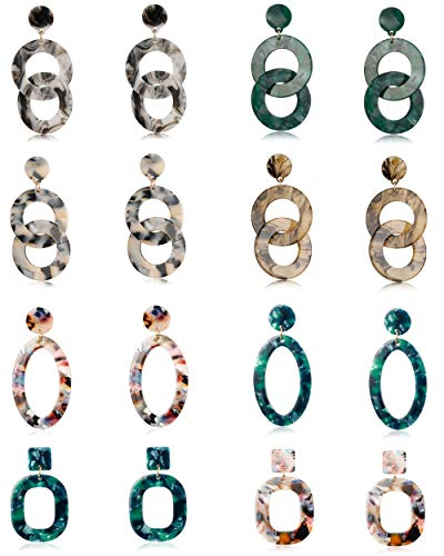 LOLIAS 8 Pairs Acrylic Dangle Drop Statement Earrings for Women Resin Fashion Jewelry