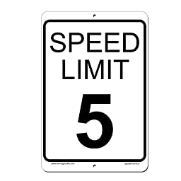 Speed Limit 5 MPH Sign - Aluminum Outdoor Sign - 8 x 12 - Lifetime Warranty