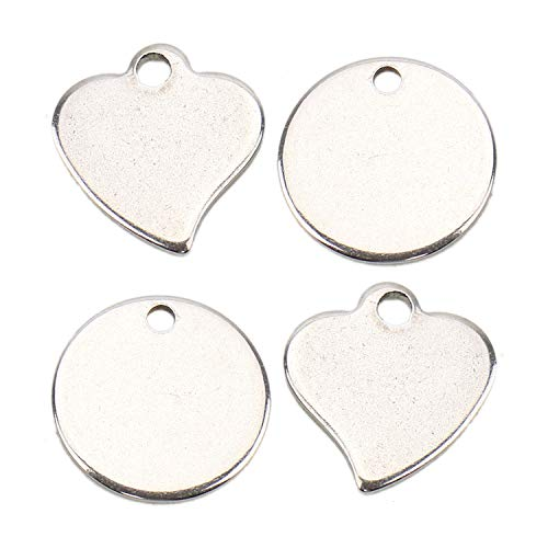 JETEHO 70Pcs Stainless Steel Blank Stamping Tags Round Heart Shaped Charm Pendants for Jewelry Making (Silver Tone)