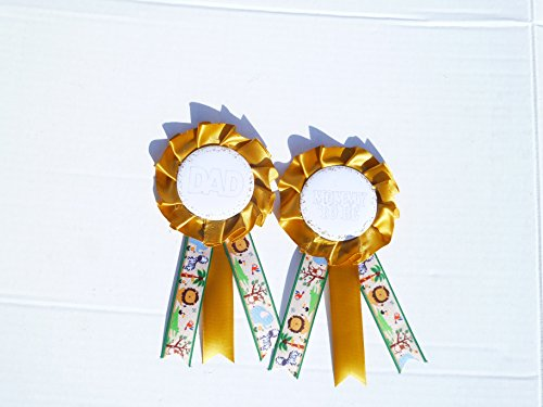 Safari Baby Shower Themed Corsage For Mom&Dad (Gold Green Mix (Bebe Rosette)