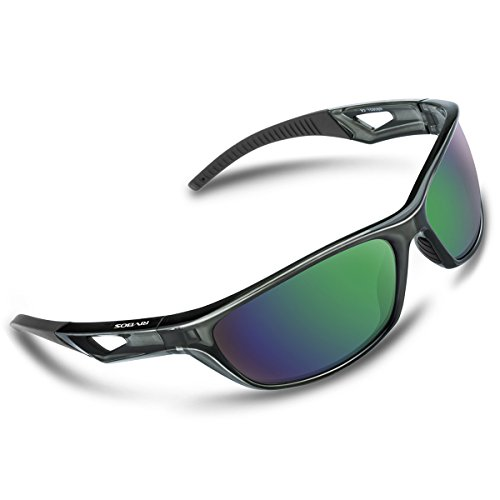 RIVBOS Polarized Sports Sunglasses Driving Sun Glasses For Men Women TR 90 Unbreakable Frame For Cycling Baseball Running Rb831 (Transparent - Without Glare Sunglasses