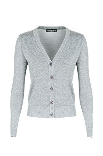 7031 Women V-Neck Long Sleeve Button Down Classic Knit Cardigan H.Grey Small ()