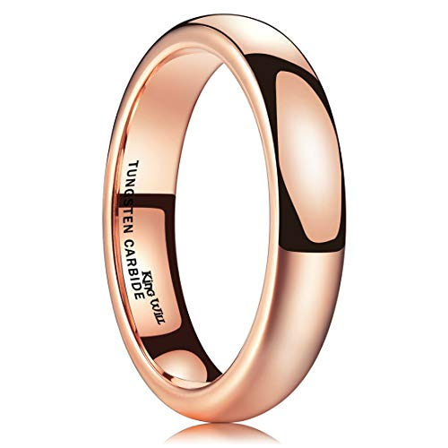 King Will Glory 4mm Rose Gold Plated Polish Comfort Fit Domed Tungsten Carbide Ring Wedding Band 6 ()