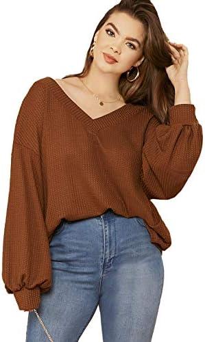 Romwe Women's Plus Size Casual Drop Shoulder Lantern Long Sleeve V Neck Blouse Top Shirts