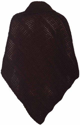 Poncho de punto para mujer, talla única, con botones y cuello doblado marrón oscuro