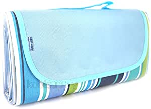 "Koolsupply XL Sand & Water Proof Beach Blanket with Free Beach Mesh Bag. 78""x57"" Water & Stain Resistant Top & Bottom, Easy to Fold & Clean. Fit for Picnic, Outdoor, Camping (Blue XL)"