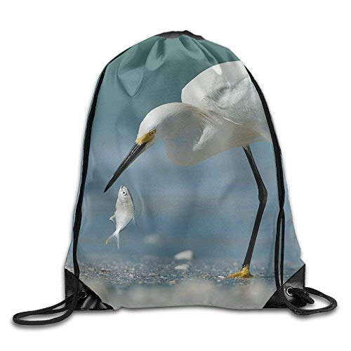 Riuiana 3D Print Drawstring Bags Bulk, Shorebird Catches A Fish Unisex Outdoor Sack Bag Travel Drawstring Backpack Bag Size: 4133cm ()