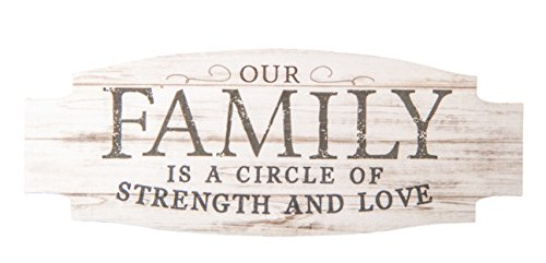 Our Family Circle Love Strength Whitewash 4.5 x 2 Wood Inspirational Magnet