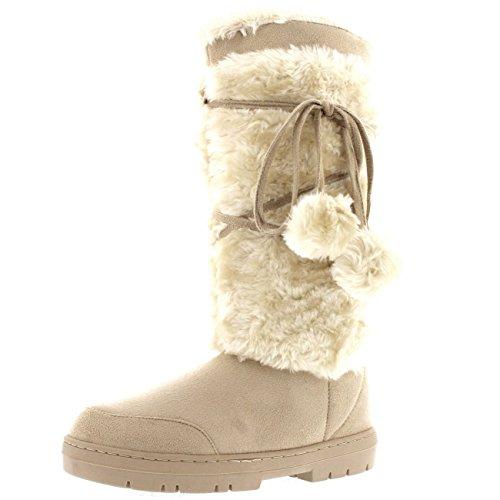 Womens Pom Pom Alta Inverno Neve Inverno Pioggia Caldo Scarponcino Beige