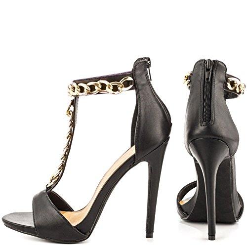 Kolnoo Femmes Sandales Mode talon haut T-strap Chaussures Chains Or Deco Summer Party Spring Black 8pUCTkIH