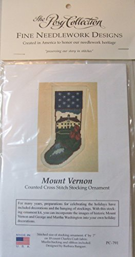 (Mount Vernon Historic George Washington Christmas Stocking Ornament Posy Counted Cross Stitch Kit)