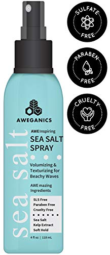 Aweganics Sea Salt Hair Spray - AWE Inspiring Volumizing and Texturizing Hair Styling Sprays for Beachy Waves, Moisturizing, Women, Men, Kids - SLS-Free, Paraben-Free, Cruelty-Free, COLOR SAFE