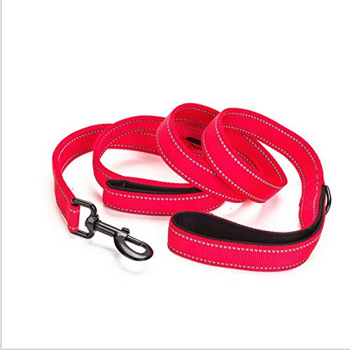 Red Night Reflective Nylon Pet Leash Two Handles, Heavy Duty 1.5M Leashes for Control Safety Training, Walking Lead for Small to Large Dogs,Red