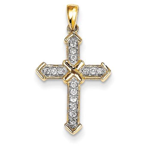 Icecarats Créatrice De Bijoux 14K Passion Diamant Pendentif Croix