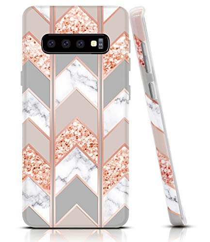 BAISRKE Marble Case for Galaxy S10 Plus, Shiny Rose Gold Lines Wave Geometric Design Case Slim Soft TPU Rubber Bumper Silicone Protective Phone Case Cover for Galaxy S10+ Plus 6.4 [Pink]