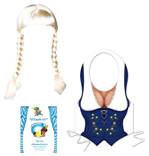 [Oktoberfest Costume Accessories Set German Fraulein Dirndl Vest Blonde Wig with Braided Pigtails Idea Guide] (Dirndl Costume)