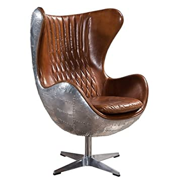 Plata Aviator Spitfire Leather Egg Chair