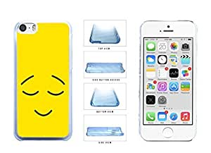 Bright Yellow Smiley Face with Eyebrows and Eyes Closed Clear Plastic Phone Case Back Cover Apple iPhone 5c