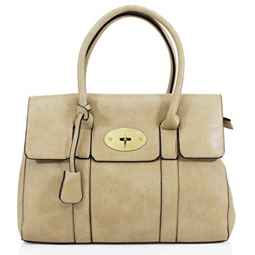 UK Shoulder Ladies Designer Bag Work Bag Frame New Office Womens Beige Tote Handbag B8Pqpw