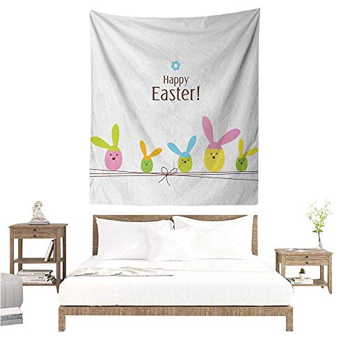 Easter Wall Tapestry for Bedroom Simplistic Cartoon Eggs with Bunny Ears Standing on a Rope Pastel Colored Design Home Decorations for Bedroom Dorm Decor 70W x 93L INCH ()