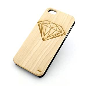 GENUINE WOOD Organic Snap On Case Cover for APPLE IPHONE 5 / 5S - DIAMOND shine bright jewelry supply brilliant carat fashion girly