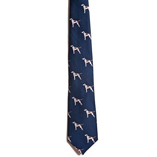 Chipp 2 Pointer Silk Necktie with Deep Blue Background ()
