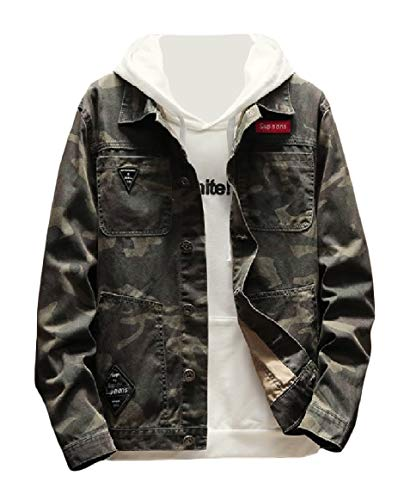 RkBaoye Men Outdoor Lapel Collar Long-Sleeve Cardigan Plus Size Camo Jackets AS1