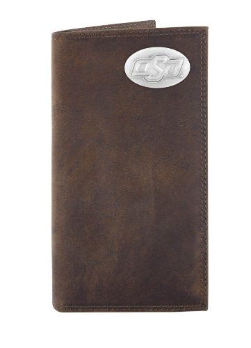 NCAA Oklahoma State Cowboys Zep-Pro Crazyhorse Leather Roper Concho Wallet, Light Brown (Oklahoma State Brown Leather)