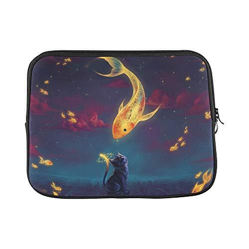 Design Custom Cartoon Cat Goldfish Artwork Clouds Clocks Sleeve Soft Laptop Case Bag Pouch Skin for MacBook Air 11