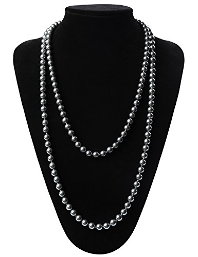 Flapper Girl Great Gatsby Faux Pearls Flapper Beads Cluster Long 1920s Necklace 59'' (Grey Faux Pearl Necklace)