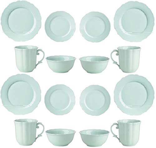 Lenox Classic Butterfly Meadow Solids 16 Pc Dinnerware GREEN Set 4 Dinner 4 Salad Accent 4 bowls 4 Mugs New in box