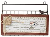 Hanging Wall File Organizer - Bill, Mail, Inbox Organizer, Letter Holder, Brown Metal Wire with Wooden Decoration, 12.25 x 9 x 2.75 inches