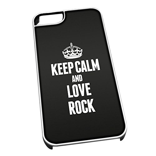Bianco cover per iPhone 5/5S 1460 nero Keep Calm and Love Rock