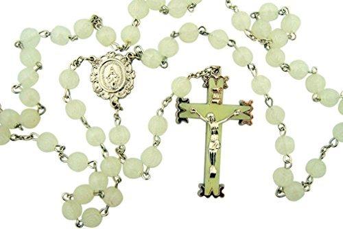 Glow in the Dark! Luminous Rosebud Rosary. White Material: M