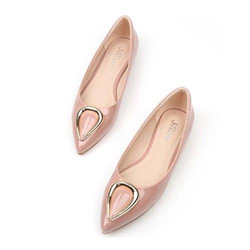 Metal Low Women Pointed Horn Shoes Thin pink Ox 37 cut HFw7qnWxwU