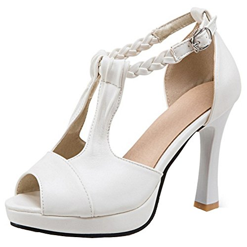 RAZAMAZA Mujer Moda tacones altos Sandalias Peep Toe tacon fiesta Zapatos Blanco