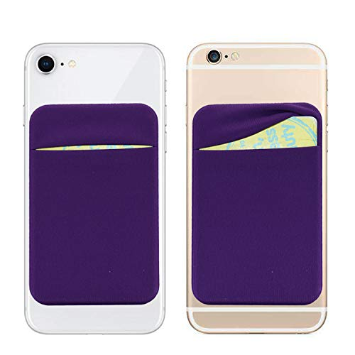3M Adhesive Purse,6 Cards Secure Holder Pocket Wallet Stick on Phone/Tablets-Cards Sleeve Pouch fits iPhone XS Max/XR/6S/7/8 Plus,Galaxy S8/Note 9/J7/J3,Honor V10/Mate 9 Pro/LG G5 (Purple) Credit Card Cigarette Case Wallet