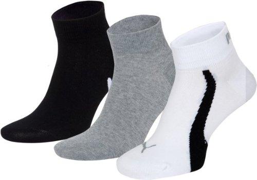 PUMA Herren Freizeit Kurzsocke lifestyle quarter 3P, 325 - white/grey/black, 43-46, 201204001_