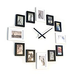 Homeloo Modern 12 Wood Wooden Photo Picture Frame Wall Clock (White Black)