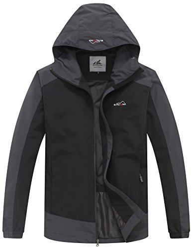 svacuam Men's Front-Zip Waterproof Rain Jacketwith Hideaway Hood(Black,XXL) ()